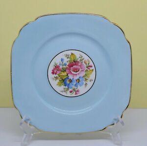 Vintage Roslyn Bone China England BLUE FLORAL SIDE CAKE TEA PLATE