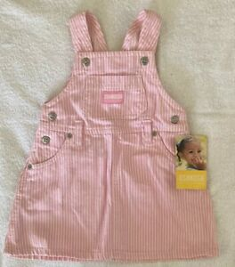 OshKosh Vintage Baby Girl Pink Stripe Pinafore Dress Size 12 Months NEW WITH TAG