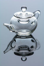 Dollhouse Miniatures Glass Art Round Classic Teapot with Handle & Removable Lid