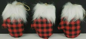 Holiday Style Red & Black Check Plaid Mitten Ornaments Choose 1 or SAVE $ BUY 3
