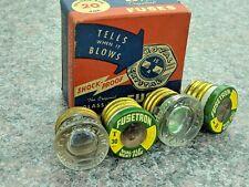 4x Vintage Glass Fuses - Royal MC-13 30A, GE Monowatt TC-25 15A, Fusetron 30A