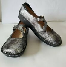 Alegria JIL-752 Metallic Silver Leather Mary Jane Sandals Shoes Women's 38 / 8