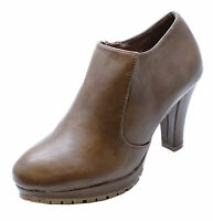 LADIES BROWN ZIP-UP SMART CASUAL WORK COMFY CHELSEA ANKLE BOOTS SHOES UK 3-7