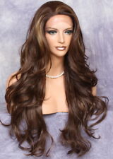 Heat OK French Full Lace Front WIG Long Wavy Brown Auburn Mix Hair WBKM 4-27-30