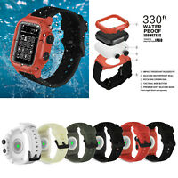 44mm 42mm IP68 Waterproof Cover Silicone Strap For Apple Watch Series 4 3 2 Band