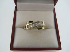 Beautiful Weding Engagement 10k Yellow Gold Ring with Baguette Zirconia Stones