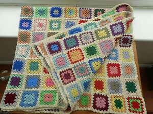 "VINTAGE HANDMADE MULTICOLOURED CROCHETED BLANKET/THROW 58"" x 48"" = 224 SQUARES"