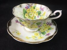 Royal Albert Gold Flared Treasure Chest Gold Crest Tea Cup And Saucer