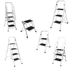 More details for 2 3 4 step ladder safety stool foldable non slip mat handrail diy multipurpose