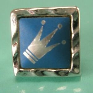 -Royal Crown Blue & Silver Tone Vintage TINY SMALL Tie Tack Lapel Pin Imperial