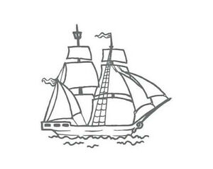 Couture Creations Mini Stamp - Seaside and Me - Tall Sail Ship Boat Ocean Beach