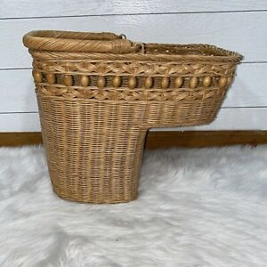 Vintage Wicker Beaded Stairs Step Basket Organizer Large W/ Sturdy Handle