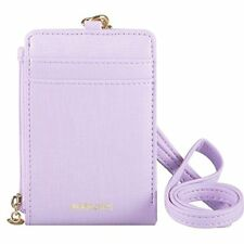 Womens Cute Candy Color Bifold ID Badge Holder with Lanyard Wallet