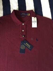BNWT Mens Ralph Lauren Custom Slim Fit Burgundy Red Polo Shirt In XL