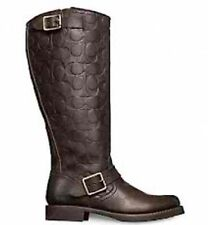 FRYE FOR COACH VERONICA TALL BOOTS STONEWASH DARK BROWN VINTAGE LEATHER 6.5 NEW