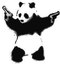 Cool Panda con armas Funny Decal Sticker Pared Coche van Bicicleta
