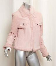 STAMPEDE COLLECTION by RUNNING WILD Pink Leather Fur Trim Jacket Coat S NEW