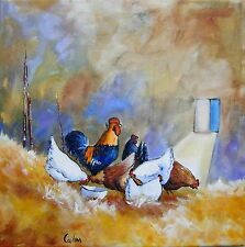 """Tableau original de Caillon 30x30 cm """" vie de famille"""" poules coq poulailler"""