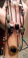 "SILPADA 60"" NECKLACE SS Hematite Turquoise Pearl Obsidian Bronzite Boho N1967"