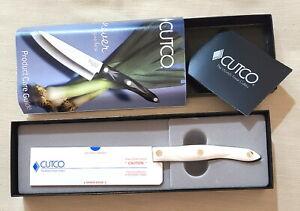 "Cutco 2166 KQ Petite 5"" Santoku Knife Pearl-White Handle Engraved NEW in Box"