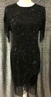 Black Tie Oleg Cassini Womens Sz 4 Silk Black Beaded Sequin Fringe Formal Dress
