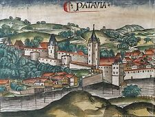 Doppelseitige Stadtansicht PASSAU Schedel Weltchronik 1493, koloriert, City view
