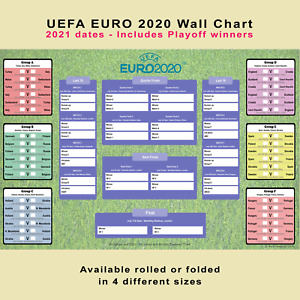 Euro 2020 planner poster wall chart - from Group stage to finals at Wembley