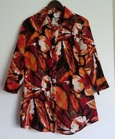 Chico's Womens Floral Linen Shirt Tunic Blouse 3/4 Sleeve Orange Red Black Size2