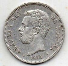 PLATA moneda de 5 pesetas año 1871 AMADEO