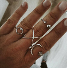 New Bohemian fashion pop circle stars moon micro-encrusted joint ring