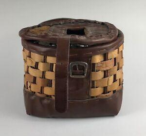 Fishing Creel Basket Woven Split Wood Buckle Stamped MLDWOOD adirondack style