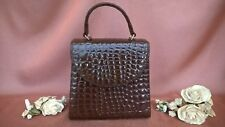 SUZY SMITH PERFECTLY MOBILE BROWN MOC CROC HANDBAG