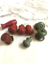 Lot of 8 Vintage Wooden Knobs/Pulls Red And Green