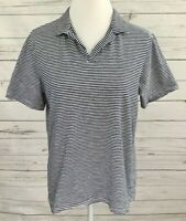 H&M Polo Shirt Womens Medium M Black Striped Short Sleeve Collared 100% Cotton