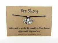 Silver Bee Be Strong Tie On Message Card Wish Bracelet Christmas Gift New Xmas