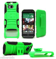 HTC One M8 case and Belt Clip Holster with stand Green on Black