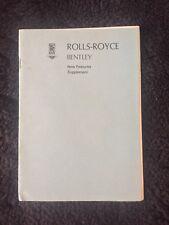 Rolls-Royce Silver Shadow 1973 Owners Manual Handbook Supplement TSD2906