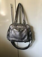 il tutto After Baby Bag Silver Leather Handbag With Teddy Bear Charm