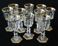 Ten Antique Cut & Polished Crystal Cordials Probably Baccarat