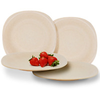 Set of 4 Eco Friendly Wheat Straw Plates Unbreakable Tableware For Kids M&W