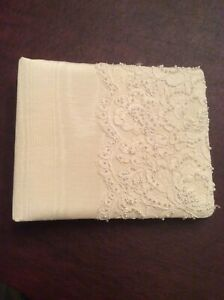 Wedding Guest Book w/pages ~Cream Material (Off White) w/Pearl Beads (see notes)