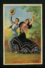 Embroidered clothing postcard Artist Estela woman costumes dancers
