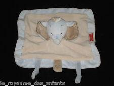 Doudou carré Éléphant Elephant bleu beige marron Nattou attache tétine