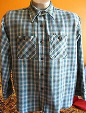 XL TRASHED TRUE VT 70's DEE CEE CLASSIC SKATER PLAID COTTON SHIRT BLUE USA