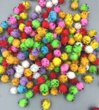 100 Fluffy Craft PomPoms Balls Mixed Colours Pom Poms xmas tinsel festive 10mm