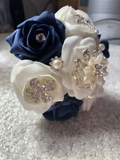 Homemade Bouquet - Silk Blue And White Flowers - Small Bouquet - Wedding
