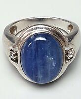 Design 925 Silber Ring Kyanit & 2 kleine Diamanten RG 19mm/60 - A 546