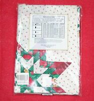Vintage Kemp Beatley Holiday Red Star Quilt Tablecloth Christmas Patchwork 60x84