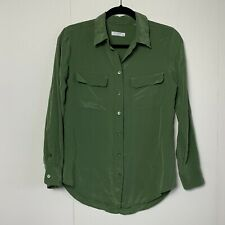 Equipment Femme Womens Olive Green Essential Silk Long Sleeve Button Up Blouse S