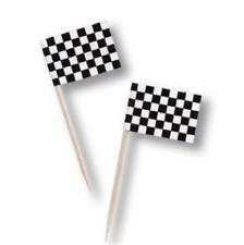 Black & White Checked Picks 50 Pack Car Racing Birthday Party Decoration